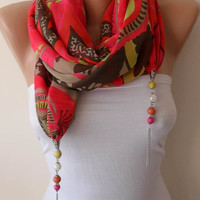 New - Chiffon Jewelry Scarf with Beads and Chain