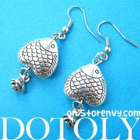 Cute Heart Shaped Fish Dangle Earrings in Silver