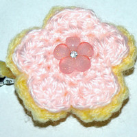 pink and yellow flower clip- summer hair accessories- girls button hair flower