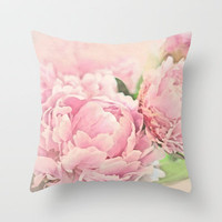 Pink Peonies Throw Pillow by Lisa Argyropoulos