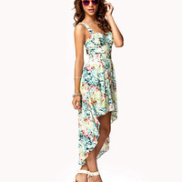 Cutout Tropical Floral Dress