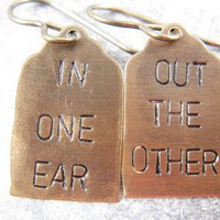In One Ear Out The Other Stamped Earrings by CobwebCorner on Etsy