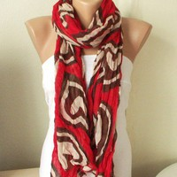 Red beige brown Cotton Scarf with hearts | moonfairy - Accessories on ArtFire