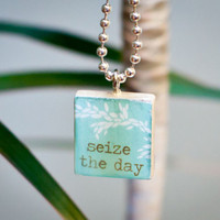 Scrabble Tile Pendant Seize the Day Blue by k5art on Etsy