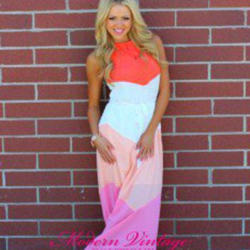 Candy shop halter maxi dress coral from modern vintage boutique