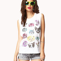 Multicolored Cat Muscle Tee