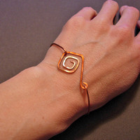 Hand Hammered Copper Swirled Squares Stackable by jhammerberg