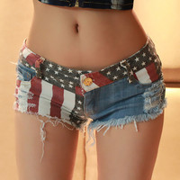 Jeans Short with US Flag 001