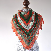 PATTERN ONLY (PDF File) - Triangular Crochet Shawl In Gypsy Style with beautiful ruffled edging, trim, lace, lacy, ladies