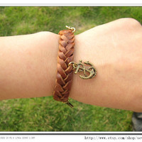 Cuff Bracelet Made Of Real Brown leather and Hemp