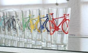 SUPER BIKE PARTY screen printed bicycle pint glasses set by vital