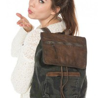 Brandy ♥ Melville |  Washed Camo Leather Flap Backpack - Accessories