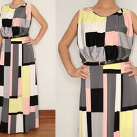 Womens Maxi Dress Geometric print Dress Check Dress