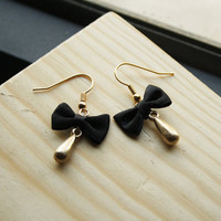 Black tie earrings black satin bow and gold tear by SchickiMickis