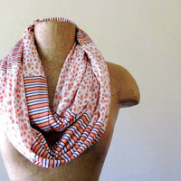 Floral and Striped Infinity Loop Scarf  Coral Peach by EcoShag