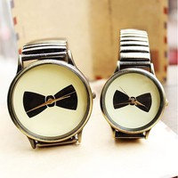 Bow Print Round Dial Vintage Quartz Watches for Lovers - Watches - Accessories - Women Free Shipping