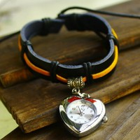 BOHO Style Women's Leather Wrist Bracelet with Heart Watch - Watches - Accessories - Women Free Shipping