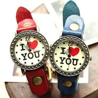 Love You Women's Vintage Style Leather Wrist Watch - Watches - Accessories - Women Free Shipping