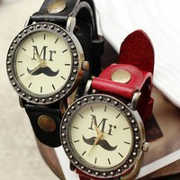 Mr. Moustache Print Women's Vintage Leather Wrist Watch - Watches - Accessories - Women Free Shipping