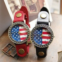 Vintage Flag of the US Print Women's Leather Wrist Watch - Watches - Accessories - Women Free Shipping