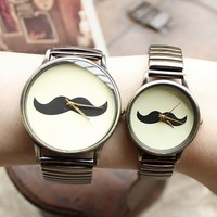 Vintage Tone Moustache Elastic Lovers' Quartz Watches - Watches - Accessories - Women Free Shipping