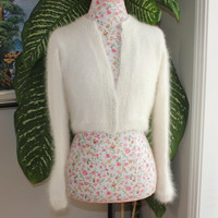 Ready to ship - HANDMADE Ivory Kate Middleton Angora Bolero hand knitted 100 percent angora/ bridal bolero/ Size EXTRA SMALL