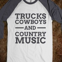 Trucks, cowboys, and country music baseball t shirt - Luke Bryan T-Shirts - Skreened T-shirts, Organic Shirts, Hoodies, Kids Tees, Baby One-Pieces and Tote Bags