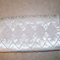 Ivory Beaded Clutch, Vintage Clutch by HOAG, Bridal, Prom, After 5 clutch, Mad Men Purse, 50s Beaded Clutch