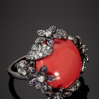 ideeli | CZ BY KENNETH JAY LANE Floral Edge Ring with Coral