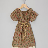 Tan Floral Lace Peasant Dress - Infant, Toddler & Girls