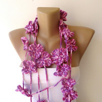 crochet lariat scarf , purple LINEN - cotton -  yarn necklace , womens accessories , spring summer seasons