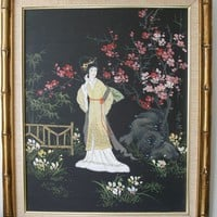 Vintage Original Oil Painting Geisha in a Zen by VintageZen