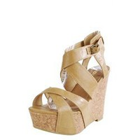 Soda Effects Light Tan Cross Strap Cork Wedge Heels and Womens Fashion Clothing & Shoes - Make Me Chic