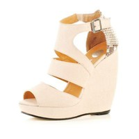 beige wedge sandal - wedges - shoes / boots - women - River Island