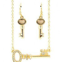 Gold Skeleton Key Necklace Set
