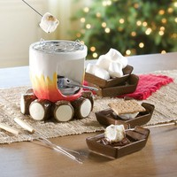Ceramic Log and Fire Designed S'mores Maker with Sticks and Plates