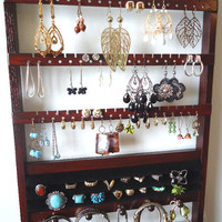 Jewelry Holder, 20 Ring Organizer, Dark Mahogany, Oak Hardwood, 54-108 Earring Pairs, Necklace Holder, Bracelet Holder, 20 Jewelry Pegs