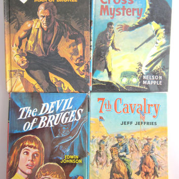 Set of 4 Vintage childrens Books, Doc Savage, Seventh Cavalry, Devil of Bruges, Carne Cross Mystery