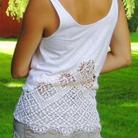 White Top - White Antique Doily Tank | UsTrendy