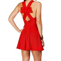 Pre-Order: Cherry Bow Back Sleeveless Short Dress