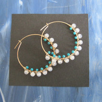 Turquoise & Agate Cleopatra Hoops by bluecabbage on Etsy