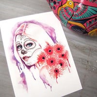 Wildflower Day of the Dead Print 5 x 7 Archival Watercolor Pink