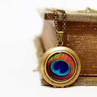 "Peacock Jewelry. Gold Locket. Feather. Colorful jewelry. ""The Eye"" orange. teal blue green. abstract. collabortion with HeartworksbyLori"