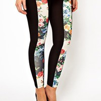 ASOS CURVE Exclusive Legging With Floral Panel at asos.com