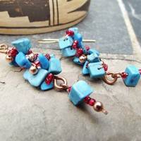 Copper Dangle Turquoise Chip Beaded Earrings with 12K Gold Ear Wires