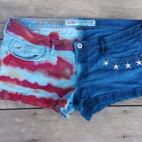 Hollister Brand American Flag Red, White, and Blue Dyed Shorts - Studded with Stars