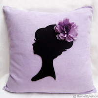 Elegant Cameo Soft Lilac And Black Pillow Cover. Lady With Rosette. Girls Room. Bridal Gift