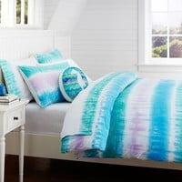Reef Tie-Dye Duvet Cover + Sham, Blue Multi