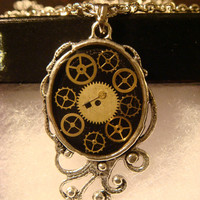 Steampunk Necklace- Gears and Watch Parts set in Resin in a Beautiful Ornate Victorian Setting (1109)
