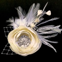 Bridal Hair Accessories, Flower Fascinator - MELIANA MEDIUM CRYSTALIA | yjdesign - Wedding on ArtFire